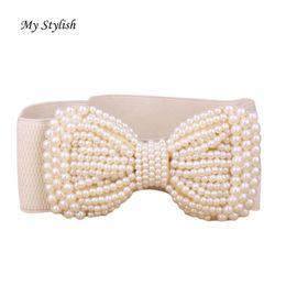 Wholesale Ladies Wide Leather Belts - Wholesale- Fashion Lady Bowknot Stretch Elastic Wide Belt Pearl Waist Belt Nov 23