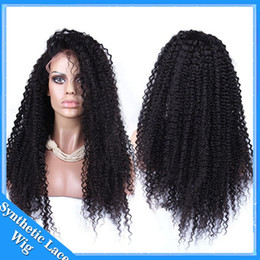 Wholesale Cheap Kinky Lace Front - Free shipping high Quality heat resistant fiber Afro curl kinky curly Synthetic lace front wig for Black Women cheap cosplay hair wigs