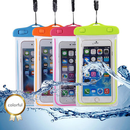 Wholesale Light Inch Phone - 100% sealed Waterproof case bag PVC Protective universal Phone Bag Night Light For Diving Swimming For smart phone up to 6.0 inch