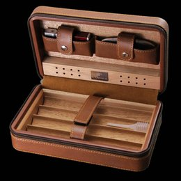 Wholesale Cigars Cutters - New COHIBA Cigar Humidor Cedar wood humidor Carrying travel packets Can installed 4 pcs cigar with Lighters and cigar cutters