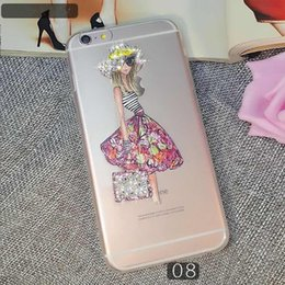 Wholesale Hd Girls - For LG Tribute HD X Style LS676 X Power iphone 7 plus ultrathin clear Bling rhinestone diamond color painting soft TPU pretty girl