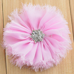 Wholesale Wholesale Quality Shabby Flowers - wholesale 200pcs lot shabby fabric flowers with high quality diamond for hair accessories girl headband #FH41