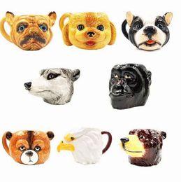 Wholesale Puppy Heads - 3D Dog Head Ceramic Mug Cute Puppy Dog Head Coffee Mug Creative Animal Head Drinking Tea Cup Practical Gift OOA2449