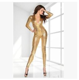 Wholesale Tight Leather Outfits - Pop star rihanna with faux fur tight jumpsuit Hole of couplet of imitation leather pants DS stage outfits sexy dress