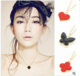 Wholesale Wholesale Heart Tin Cans - Lovely girlies butterfly love clovers collarbone chain three styles six colors you can choose shipping free