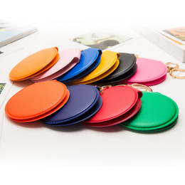 Wholesale Mini Mirror Frame - 1000pcs Cosmetic Compact Mirror Portable Double Dual Sides Frame Girl Mini PU Leather Pocket Makeup Mirror Key Chain Keyring