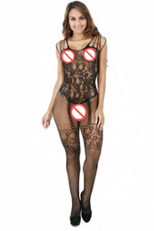 Wholesale Nylon Bodystockings - Exotic Underwear Lingerie Sexy Bodystockings Black Open Crotch Hot Chemise Women Sexy Nightie New Arrival Charming Sleepwear