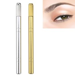 Wholesale Permanent Eyebrow Pencils - Wholesale- 2016 Hot Sale Stainless Steel New Microblading Pen Tattoo Machine Permanent Makeup Eyebrow Tattoo Manual Pen Anne