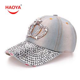 Мода Diamond Point Imperial Crown Denim Caps женщины бейсболка девушки Hat горный хрусталь печати Бесплатная доставка 2 цвета cheap girls diamond crown от Поставщики девушки бриллиантовая корона