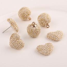 Wholesale Diy Ball Earrings - Braided Rope Hanging Balls love peach heart Diy Making Simple Style DIY hand earrings accessories NE780