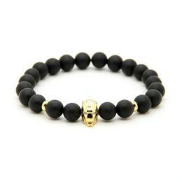 Wholesale Iron Chain Link - New Arrival Iron Man Hero Charm Bracelet 10pcs lot 8mm Matte Agate Stone Beads Fashion Jewelry For Men