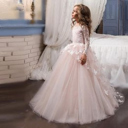 Wholesale Cheap Glitz Pageant Dresses 3t - Newly Light Pink Lace Flower Girl Dresses For Weddings Beauty Pageant Dresses For Girls Glitz Long Sleeve Holy Communion Dresses 2017 Cheap