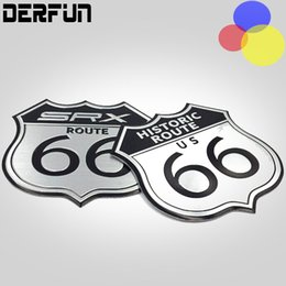 Wholesale Laptop Logo Stickers - For Cadillac SRX Aluminum alloy 7x7cm Car Sticker Styling America US the ROUTE 66 Road 3D Metal Logo Motorcycle Decal Body Laptop Cabinet