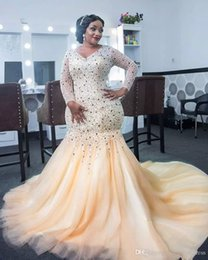 Wholesale Heavy Evening Gowns - Heavy Beading Prom Dresses Plus Size V Neck Mermaid Evening Gowns With Illusion Long Sleeves Tulle Sweep Train Saudi Arabia Vestidos