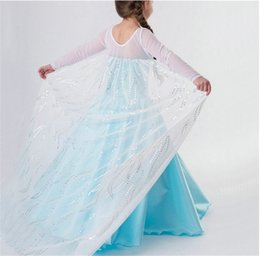 Wholesale Sleeve Wand - frozen dress costumes long sleeve skirt princess elsa party wear clothing crown magic wand sticks for halloween christmas gift new