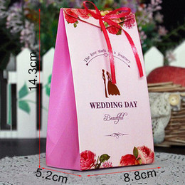 Wholesale Baby Shower Gift Box Candy Paper Bags With Handles Ribbons Candy Treat Simple Large Gift Box
