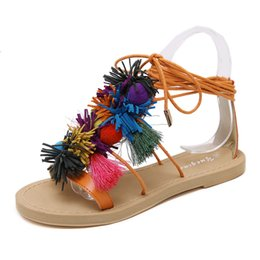 Wholesale Tie Up Lady - 2017 Summer Bohemian Vintage Women Sandals ball tassel Roman comfortable ladies flat shoes woman shoes flip flops