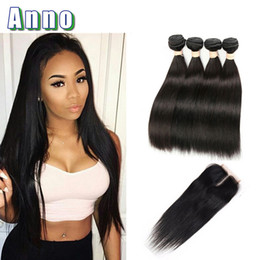 Wholesale Fashion Queen Hair - 7a Brazilian Virgin Hair 4 Bundles With Closure Natural Straight Weave With Closure Queen Love Hair Bundles And Closures Fashion