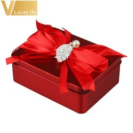 Wholesale Tin Boxes For Gifts - 5PCS lot Tin Box Candy Boxes Wedding With Artificial Flower Leaf For Gift Box Key Box Wedding Home Decoration Accessories