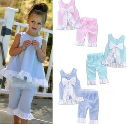 Wholesale Outer Clothing - Summer EuropeStyle Ins Girl Sweet Grid Bowknot Flouncing Upper Outer Garment Sleeveless 2pcs Outfits Children Clothing B4630