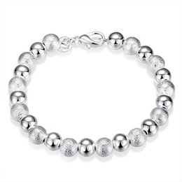 Wholesale Wholesale Metal Beads China - Shiny Silver Plated Brass Metal 8mm Round Ball Bead Bracelet for Women with Lobster Clasp Free Shipping