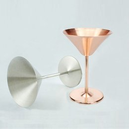 Wholesale golden layer - NEW Rose Golden Wine glass cups Single layer 8-Ounce Stainless Steel Martini Margaret Champagne Cup Martini Goblets Red Wine