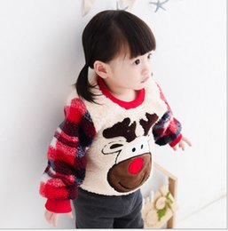 Wholesale Next Kids Clothing Wholesalers - Wholesale- 2016 Next Winter Christmas Deer Girls Sweatshirts Cute Warm Kids Clothes Cartoon Baby Girl Clothing Fleece Sweatshirt Hoodies