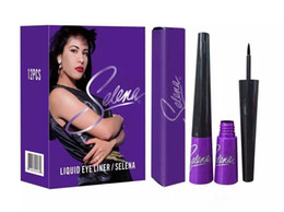 Wholesale Waterproof Black Liquid Eyeliner - Hot Sale Brand Makeup Waterproof Selena Eyeliner Black Color Eye Liner Make Up Free Shipping 5Pcs Lot