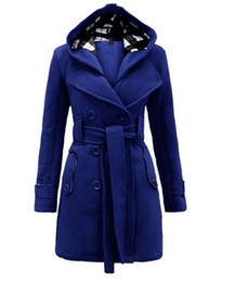Wholesale Double Cap Jacket - 2016 Europe women fall winter fashion slim double breasted cotton long Windbreaker warm coats blouse Cap jacket