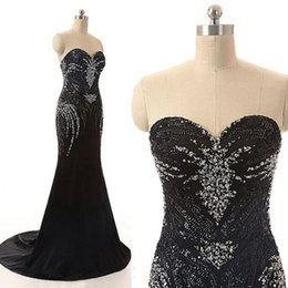 Wholesale Chiffon Sweetheart Bling Long Dress - Bling Bling Luxury Black Evening Dresses Formal Wear Luxury Beads Crystals Sequins Evening Gowns Exquisite Mermaid Pageant Prom Dress