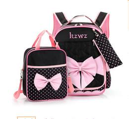 Wholesale Big Backpacks School Girls - Kids bag sets fashion girls cute big bow school bag+polks dots handbags+pen bag 3pcs sets girl princess double shoulder backpacks T4333