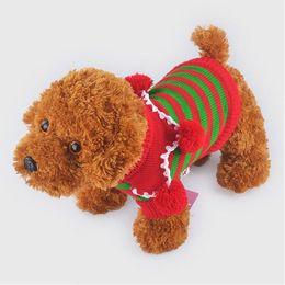 Wholesale Pet Santa - Santa Dog Sweaters Coats Xmas Striped Pet Sweatshirts Winter Puppy Apparel Dog Stripe Sweater Christmas Dog Clothes 3 Styles YW124