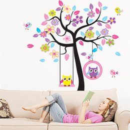 Wholesale Swing Wall Decal Stickers - Zn New Owl Bird Swing Tree Wall Stickers Tree Wall Decals Cartoon Home Decor For Kids Rooms Children Baby Nursery Rooms