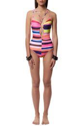 Wholesale Sexy Rainbow Striped Bikini - Sexy striped one piece swimwear women rainbow summer swimsuit bikini hollow bandage plus size hot sale