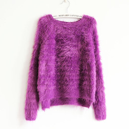 Wholesale Purple Mohair - Wholesale- Mohair O-neck Women Short Sweater Knit Cropped Long Sleeve Casual Plus Size Solid Crew Neck Girl Female Sweater Pullover