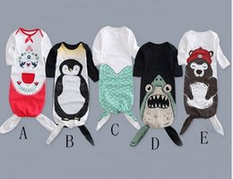 Wholesale Sleeping Jumpsuits - 2017 Cotton Baby Sleeping Bags Mermaid Newborn Swaddling Clothing Spring Autumn Outdoor Blankets Toddler Jumpsuits Infant Rompers Clothes