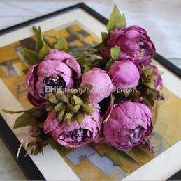 Wholesale chinese silk bulk - Artificial Silk Peony Flower 1 Bouquet 8 Head Fake Leaf Home Party Garden Wedding Decor Pink   Purple   Hotpink