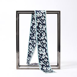 Wholesale Blue Animal Print Scarf - Brand New L brand Fashion 100% real silk scarves Leopard grain 120*6cm ribbon hair belt bag handle woman headband