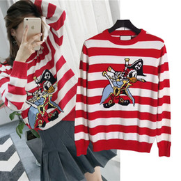 Wholesale Sea Rover - Europe Italy Winter Striped Pirate sea rover Donald Duck Loved Pullover Sweater Men Women Luxury Thick Wool Sweater