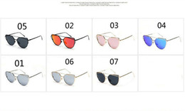Wholesale Cat Oversized Sunglasses - Good Quality !!! New Arrivals Fashion Women's Men's Sunglasses Flat Lens Mirror Metal Frame Oversized Cat Eye Sun Glasses Free Shipping