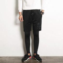 Wholesale Novelty Leggings - Wholesale-#2821 2016 Skinny joggers Cotton men Fashion tights men Fake two piece leggings trousers Hip hop pants Men clothing Mens joggers