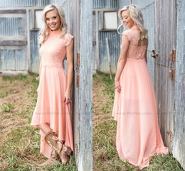 Wholesale Bridesmaid Short Sleeve Design - New Design High Neck High Low Country Style Bridesmaid Dresses 2017 Elegant Capped Sleeves A Line Maid of Honor Gowns