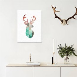 Wholesale 3d Pictures Wall Art - Geometric Coral Framed Deer Head Canvas Art Print Poster with frames, Mint Deer Wall Pictures for Home Decoration, Wall Art Decor