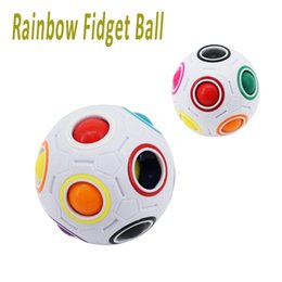 Wholesale Fun Challenges - Rainbow Fidget Ball Challenging Puzzle Ball Fun Sphere Speed Cube EDC Novelty Fidget Football Brain Teasers Educational Toys dhl free OTH542