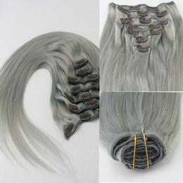 Wholesale Silver Clip Hair Extensions - Grey Clip in Hair Extensions Straight Indian Human Hair Clip Ins 7pcs 100g Silver Virgin Remy Hair Clips For Women No Shedding