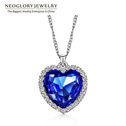 Wholesale Titanic Earrings Necklace - 2017 Neoglory Crystals Titanic Heart Ocean Love Necklaces & Pendants for Women Fashion Jewelry Birthday Best Friends Mother Gifts