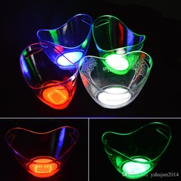 Wholesale Luminous Ice Bucket - New product 5 pieces lot single color rechargeable luminous 4L LED ICE Bucket champagne beer ice bucket for bars decoration