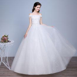 Wholesale Korean Fashion Wedding Gowns - bateau cap sleeve wholesale swedding dress 2017 new summer breast wedding Korean fashion bride was thin code