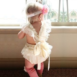 Wholesale Wholesale Baby Lace Bodysuits - 2017 Infants clothing Baby girl lace petal romper Ruffles Bodysuits cross backless photograph European hotsale 6months-24months
