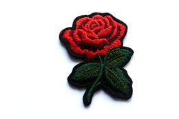Wholesale Rose Stickers - Rose Flower Clothing Irons Embroidered DIY Patches Motif Applique Children Women DIY Clothes Sticker Wedding Top Patches Iron-on Sew-on Jean